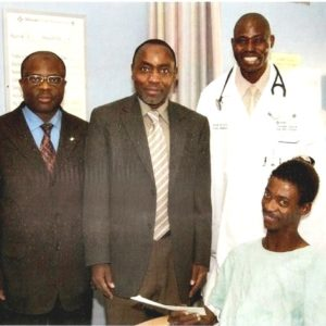 MD with CG of Nigeria at the hospital presenting a gift on behalf of Nigerian government after the surgery