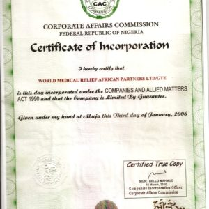 Certificate of registration of WMRAP by CAC